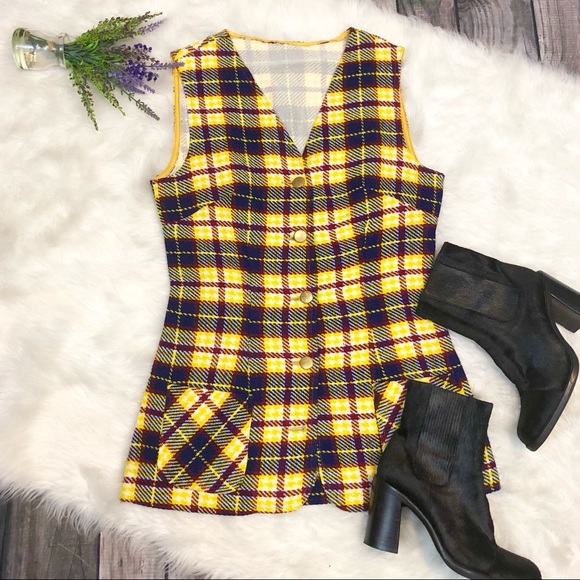 Vintage Jackets & Blazers - VINTAGE Plaid Wool Button Front Vest